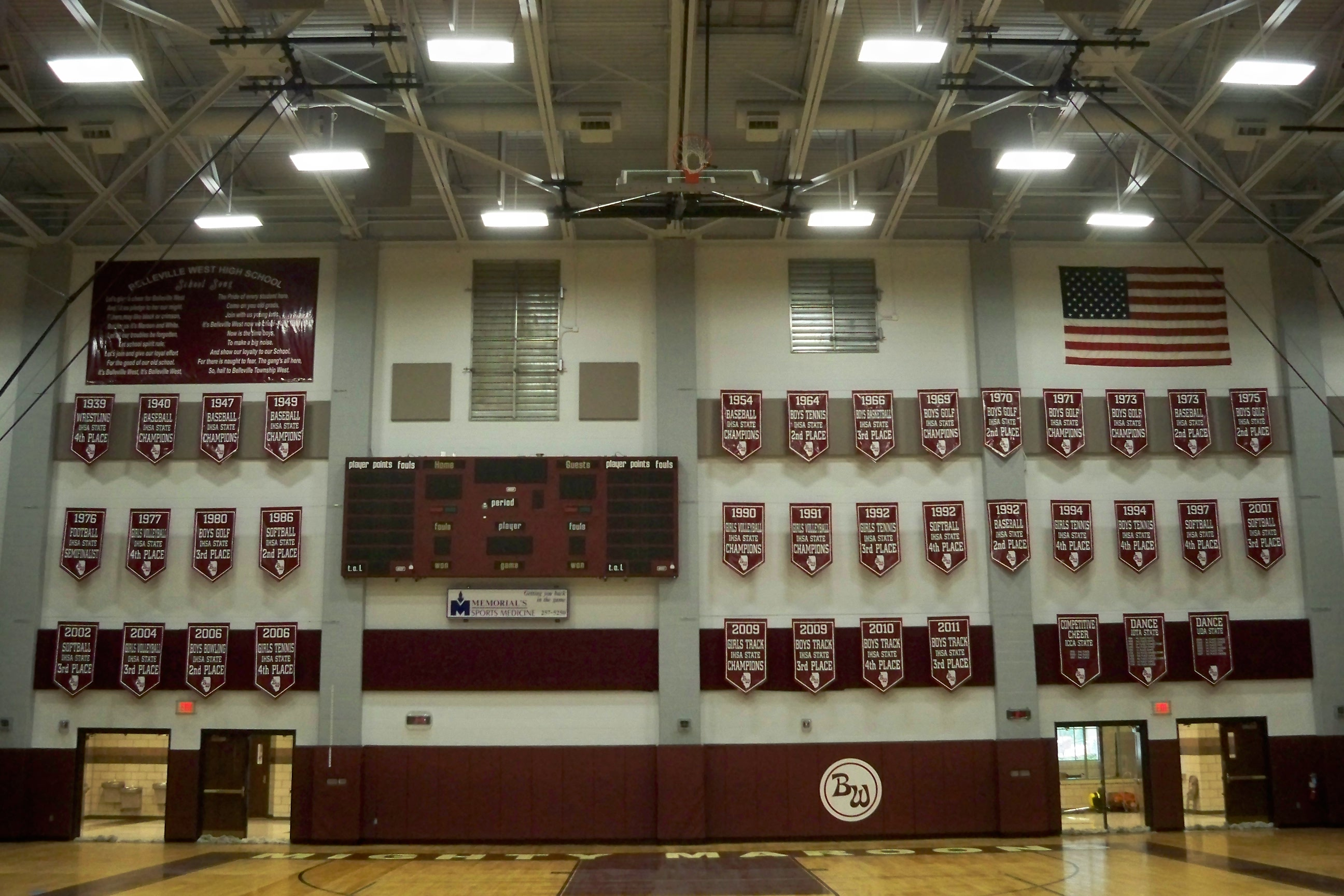 Banners in Gym for State Place Winners