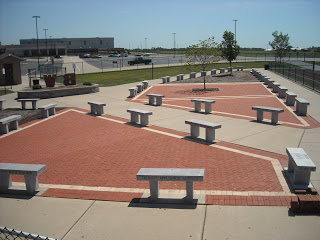 Football field entrance benches